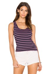 Bobi Double Stripe Jersey Scoop Neck Tank Navy