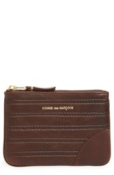 Men's Comme Des Garcons Embossed Leather Top Zip Pouch Wallet Brown