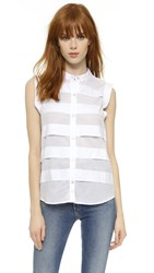 Clu Paneled Sleeveless Shirt White