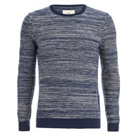 Folk Men's Crew Neck Knit Jumper Ecru Bright Navy Cream Blue