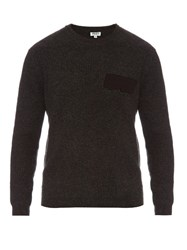 Kenzo Logo Applique Ribbed Wool Sweater Charcoal