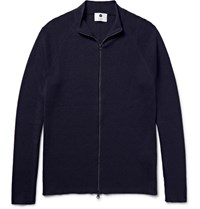 Nn.07 Nn07 Ribbed Wool Zip Up Cardigan Navy