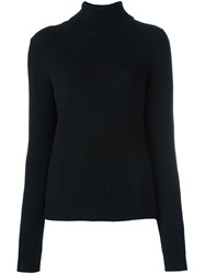 P.A.R.O.S.H. Roll Neck Ribbed Pullover Black
