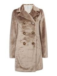 Ruby Ed Faux Fur Trench Coat Silver
