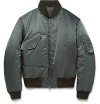 Jil Sander Libourne Padded Shell Bomber Jacket Gray Green
