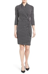 Karen Kane Women's Print Jersey Cascade Faux Wrap Dress Black Off White