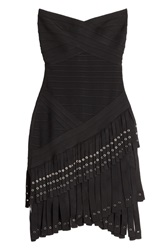 Herve Leger Herve Leger Fringed Bandage Dress Black