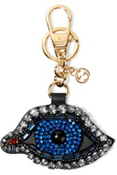 Gucci Crystal And Bead Embellished Leather Keychain Blue