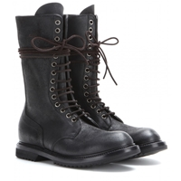 Rick Owens Army Laced Leather Boots Black