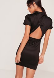 Missguided Open Back High Neck Bodycon Dress Black Black