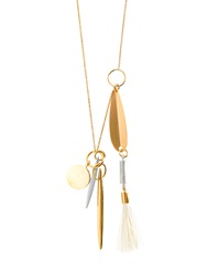 Chloe Harlow Ostrich Feather Charm Brass Necklace