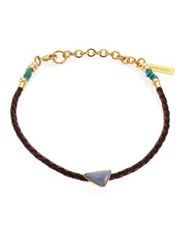 Lizzie Fortunato Cowgirl Angelite Turquoise And Leather Choker Brown