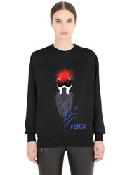 Fendi Karl Loves Mink Fox And Cotton Sweatshirt