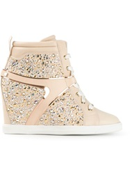 Ballin Embellished Wedge Sneakers Pink And Purple