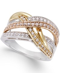 Macy's Diamond Tri Orbit Ring 1 2 Ct. T.W In 14K Two Tone Gold And Sterling Silver