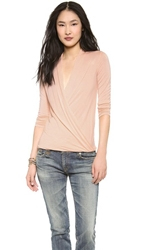 Lanston Surplice Long Sleeve Top Nude Blush