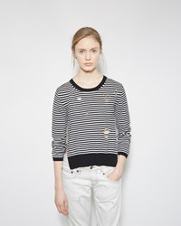 R 13 Shredded Cashmere Sweater Black And White