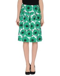 Caractere Knee Length Skirts Green