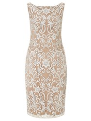 Adrianna Papell Sequin Embroidered Sheath Dress Ivory
