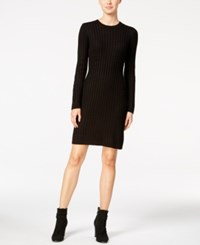Calvin Klein Crew Neck Cable Knit Sweater Dress Black