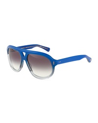 Dita Mercer Two Tone Aviator Sunglasses Blue Gray Crystal