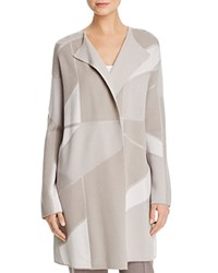 Basler Geometric Jacquard Long Open Cardigan Warm Gray