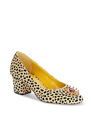 Charlotte Olympia Oprah Cheetah Print Calf Hair Pumps Brown
