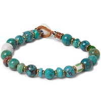 Mikia Turquoise And Howlite Beaded Bracelet Blue