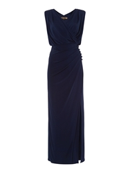Biba Wrap Over Button Detail Maxi Dress Navy