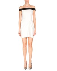 Roland Mouret Bicolor Off The Shoulder Mini Dress White Black