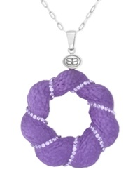 Sis By Simone I Smith Platinum Over Sterling Silver Necklace Crystal And Purple Lucite Pendant