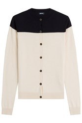 Jil Sander Navy Two Tone Silk Cardigan With Cashmere Beige