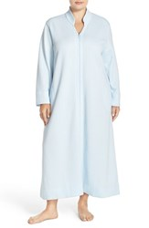 Carole Hochman Plus Size Women's Front Zip Quilt Robe Light Blue
