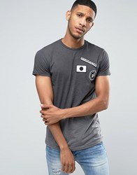 Pull And Bear Pullandbear Ombre T Shirt In Dark Grey With Badge Detail Dark Grey