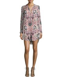 Haute Hippie Long Sleeve Paisley Silk Mini Dress Change Will Do You Cowboy Take Me A