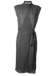 Alexander Wang T By Checked Wrap Dress Grey