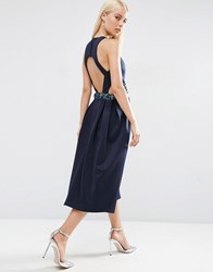 Asos Embellished Waist Cut Out Prom Midi Dress Navy