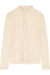 Dkny Flocked Lace Top Cream