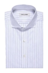 Twillory Pinstripe Classic Fit Long Sleeve Shirt Blue