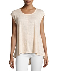 Joan Vass Drop Shoulder Scoop Neck Tee Desert Peach