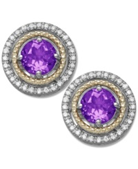Macy's Amethyst 9 10 Ct. T.W. And Diamond 1 8 Ct. T.W. Stud Earrings In 14K Gold And Sterling Silver