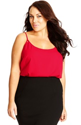 City Chic Cross Back Camisole Plus Size Red Velvet