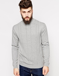 Peter Werth Turtle Neck Jumper With Textured Stitch Silvermarl