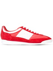 Maison Martin Margiela Panelled Lace Up Sneakers Red