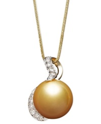 Macy's 14K Gold Necklace Cultured Golden South Sea Pearl 13Mm And Diamond 1 3 Ct. T.W. Pendant