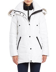 Andrew Marc New York Coyote Fur Trimmed Parka White