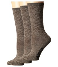 Wigwam Silky Crew 3 Pack Brown Khaki Women's Crew Cut Socks Shoes