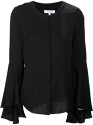 Milly Flared Sleeve Collarless Shirt Black