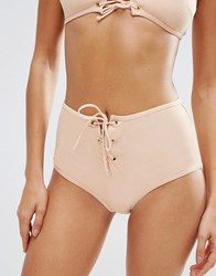 Asos Eyelet Lace Up Front High Waist Bikini Bottom Nude Gold Pink