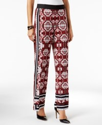 Inc International Concepts Petite Printed Palazzo Pants Only At Macy's Maroon Delight